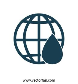 Isolated oil drop and global sphere silhouette style icon vector design