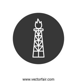 Isolated oil tower with flame line block style icon vector design