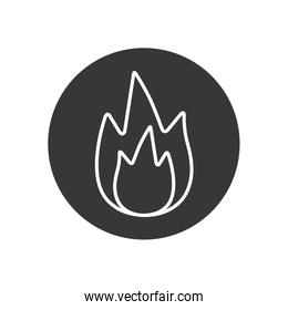 Isolated flame line block style icon vector design