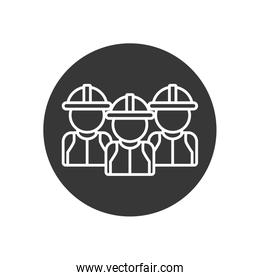 Isolated builder men with helmets line block style icon vector design