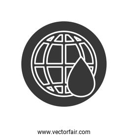 Isolated oil drop and global sphere line block style icon vector design