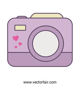 Isolated camera device line and fill style icon vector design