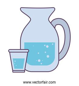 Isolated water jar and glass drink line and fill icon vector design