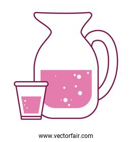 Isolated water jar and glass drink half line half color icon vector design