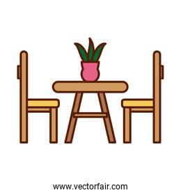 Isolated home table with chairs line and fill style icon vector design