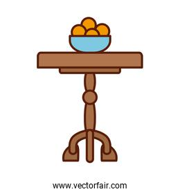 Isolated oranges bowl over home little table line and fill style icon vector design