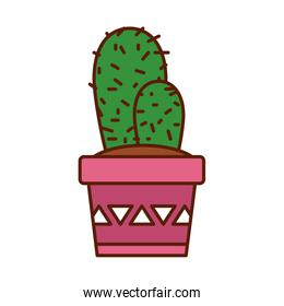 Isolated cactus plant line fill style icon vector design