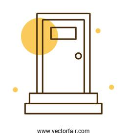 Isolated home wood door block and line style icon vector design