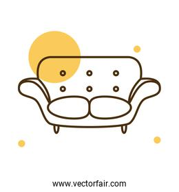 Isolated chair block and line style icon vector design