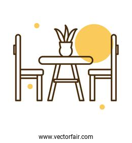 Isolated home table with chairs block and line style icon vector design