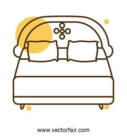 Isolated home bed block and line style icon vector design
