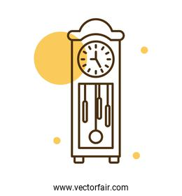 Isolated classic clock block and line style icon vector design