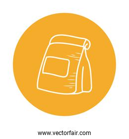 Isolated food bag block style icon vector design