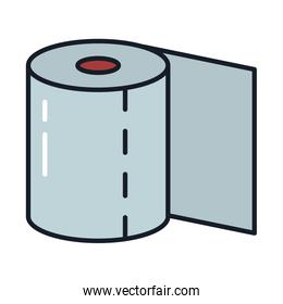 toilet paper line and fill style icon vector design
