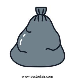 Isolated trash bag line and fill vector design