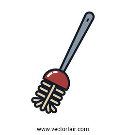 toilet brush line and fill style icon vector design
