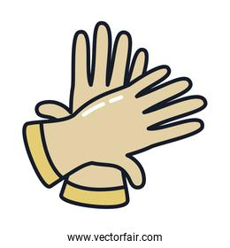 gloves line and fill style icon vector design