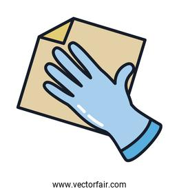 glove with rag line and fill style icon vector design