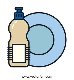 plate and detergent bottle line and fill style icon vector design