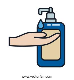 soap dispenser drop and hand line and fill style icon vector design