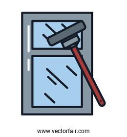 window cleaner line and fill style icon vector design