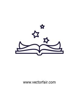 Isolated open book and stars line style icon vector design