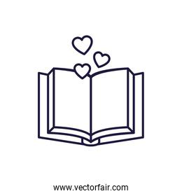 Isolated open book and hearts line style icon vector design