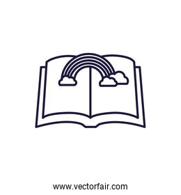 Isolated open book and rainbow line style icon vector design