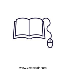 Isolated open book and mouse line style icon vector design