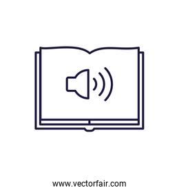 Isolated open book and volume line style icon vector design