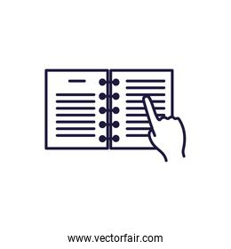 Isolated open book and hand line style icon vector design