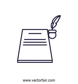 Isolated education book and feather pen line style icon vector design