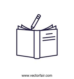 Isolated open book and pencil line style icon vector design