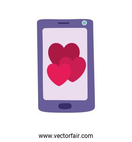 Isolated heart and smartphone vector design