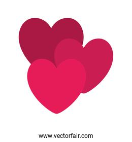 Isolated hearts shape vector design