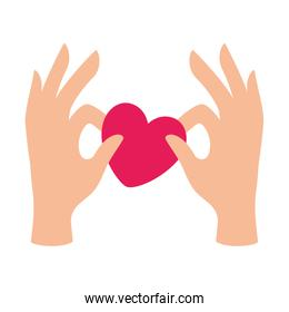 Isolated hands with heart shape vector design