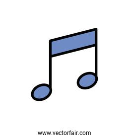 Isolated music note icon fill vector design