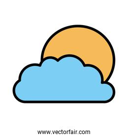 Isolated sun and cloud fill vector design