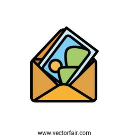 Isolated envelope icon fill vector design