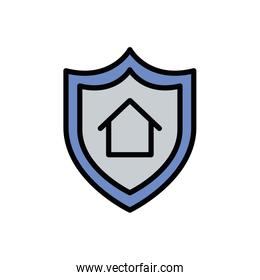 Isolated house inside shield icon fill vector design