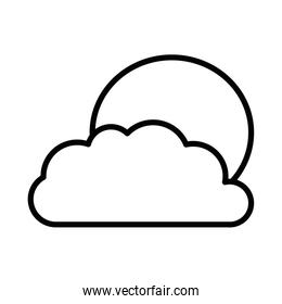 Isolated sun and cloud line vector design