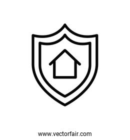 Isolated house inside shield icon line vector design
