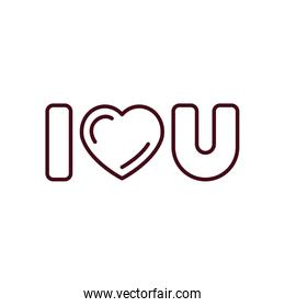 Isolated love text line vector