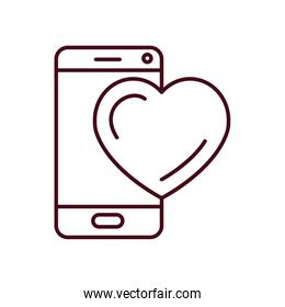 Isolated heart and smartphone icon line vector design