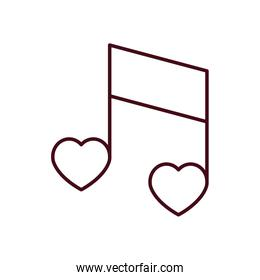 Isolated love music line vector design