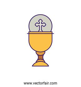 Cup with communion wafer fill vector design