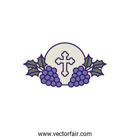 Communion wafer with grapes fill vector design