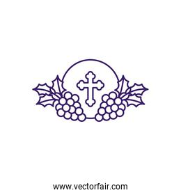 Communion wafer with grapes line vector design