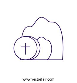 Isolated communion wafer with cross line vector design