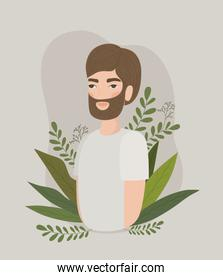 Man with leaves drawing vector design